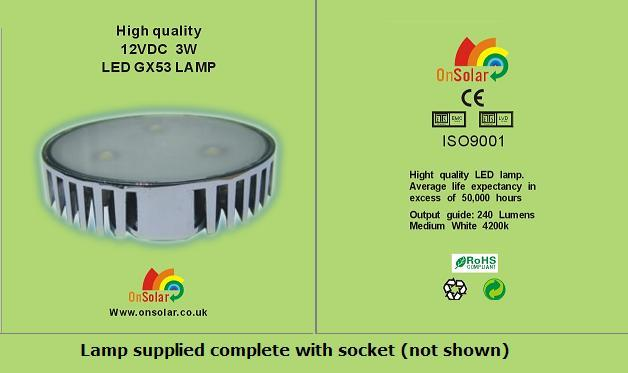 The NEW OnSolar.co.uk GX53 3 Watt LED lighting unit