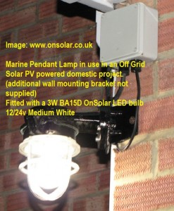 Marine pendant fitting with onsolar 3w universal 10-30v OnSolar LED bulb