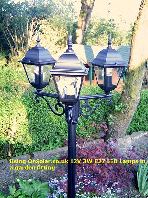 The Solar Powered garden lamps have three 3W 12v LED lamps