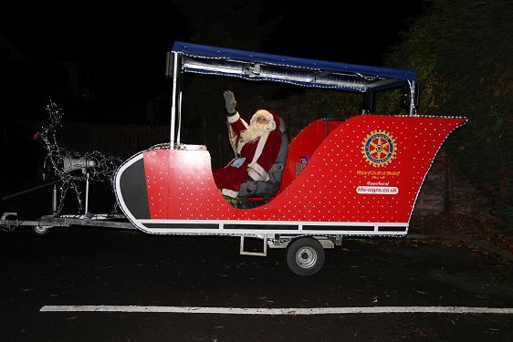 Santa illuminated with a pair of OnSolar 12V Floodlights