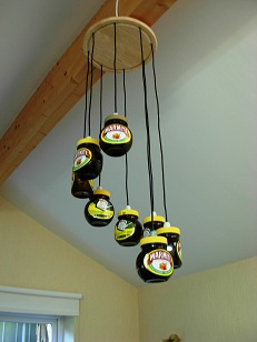 The finished Marmite Jar Chandelier