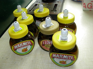 Marmite Jars with glands fitted