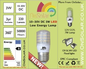 The new OnSolar 3W LED works with power supplies 10 to 30 volts DC and is available in E27, B22, E14 and BA15D