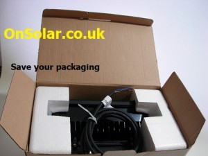 The OnSolar 30W 12-24v DC Floodlight Packaging